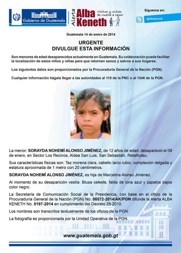 Alerta Activada: Sorayda Nohemí Alonso Jiménez http://t.co/qY1DLXlsnI