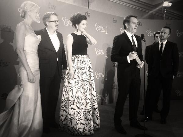 Breaking Bad cast. Cranston jokes they will wife swap to celebrate. #GoldenGlobes http://t.co/GHUhtTYdLG