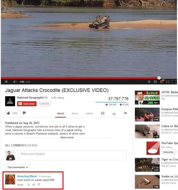 Browsing YouTube when suddenly LoL players appear in the comment section. LOL! #leagueoflegends http://t.co/i4GvkcOwhK
