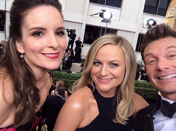 O trio! RT @BuzzFeed: A @RyanSeacrest, Tina Fey and Amy Poehler selfie from the red carpet http://t.co/wKMb3xRaC4 http://t.co/VX3EnqrcEX