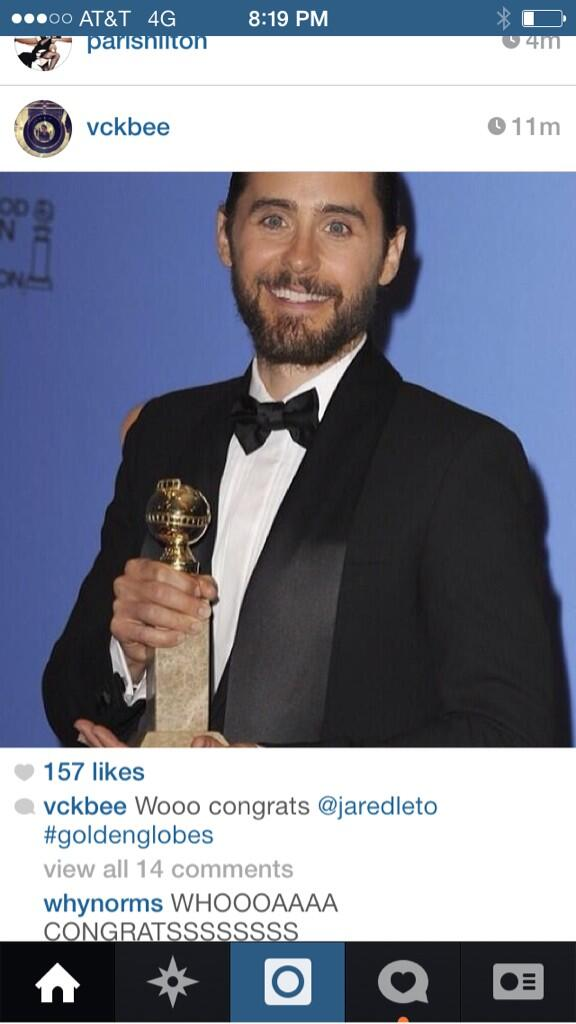 Congrats to @JaredLeto #Best Supporting #Actor @DallasBuyers Yes! Yes! Yes! http://t.co/452QK3TT9w