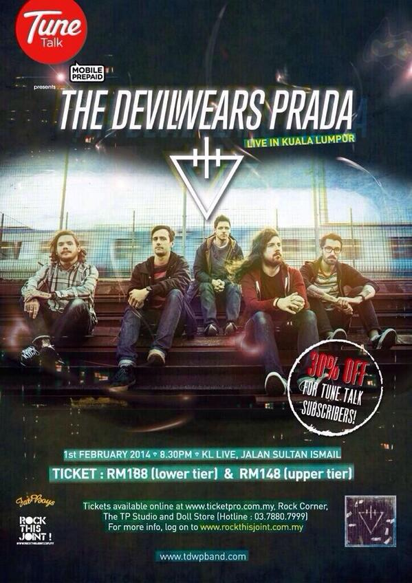 You can get tickets to The Devil Wears Prada live in KL at @tpstudio_prod ! #TDWPLiveInKL http://t.co/Al3LSFxDSV