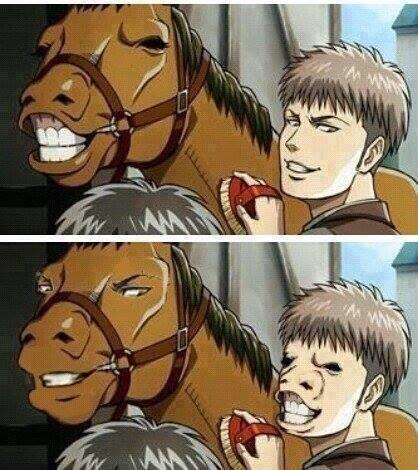 ジャンと馬の顔入れ替えたら想像以上に破壊力でかかった pic.twitter.com/Wf4A0us7Hb