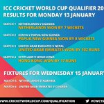 Victories for @Cricket_PNG, @KNCBcricket, UAE and @CricketHK in the #cwc15 qualifier: http://t.co/UiIXVTkFio http://t.co/w71B0pEWKs