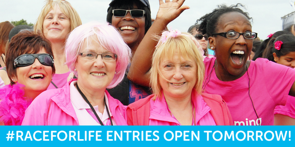 Attention ladies - #RaceforLife entries open tomorrow! RT to spread the word. http://t.co/0Vc0x1pue1