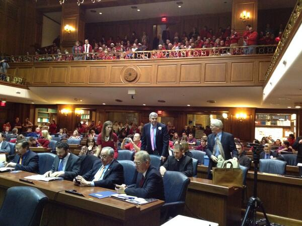 20 min from start of House judiciary #HJR3 hearing. Opponents in red packed gallery early http://t.co/AWcYXcjV75