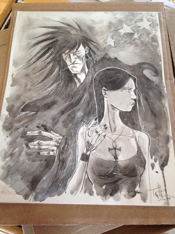 RT @DarksideBerto: Thank you @Templesmith for the amazing portrait of #Dream and #Death! @neilhimself #Sandman #AwesomeArt http://t.co/B3HFbsLBKI