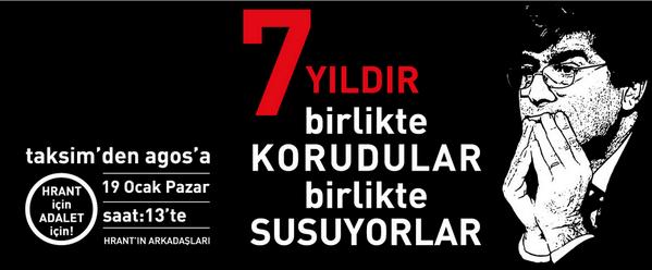 Hrant'ın Arkadaşları'ndan çağrı: 19 Ocak'ta, 13:30'da Taksim'de, 15:00'te Agos'un önündeyiz... http://t.co/3AmuaSXSjF http://t.co/TEw3fyZh0e
