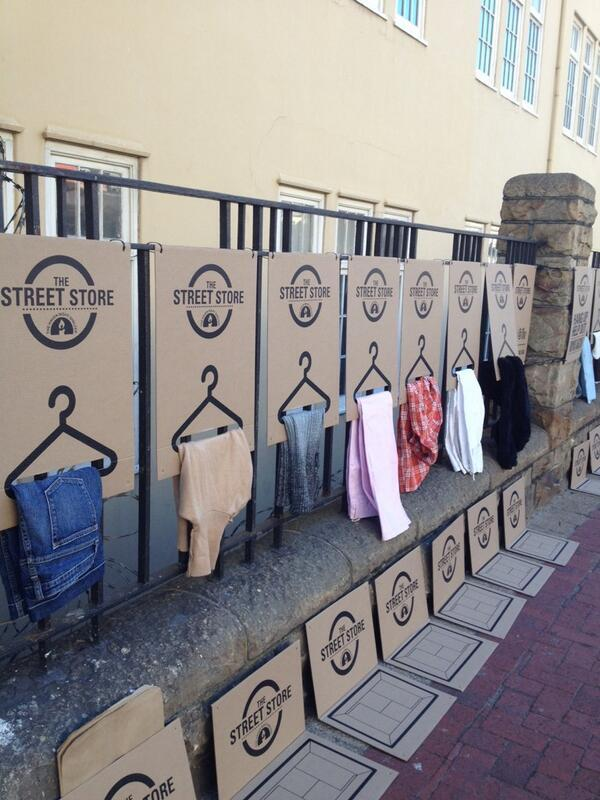 Drop off old clothes for the homeless at CPT's first premises-free clothing store until 7pm tonight @TheStreetStore http://t.co/8EkJWkq6ym
