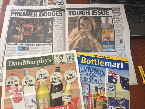 The Daily Tele's campaign against alcohol and violence and the two fat inserts for grog that tumble from within: http://t.co/qQVlSHZ6WN