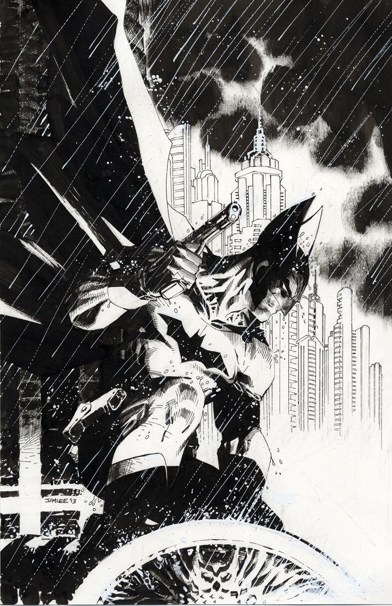 My penciled/inked variant cover for Detective #27. Cowl, gloves & handgun a throwback to Batman's original look http://t.co/JGVa3gubEt