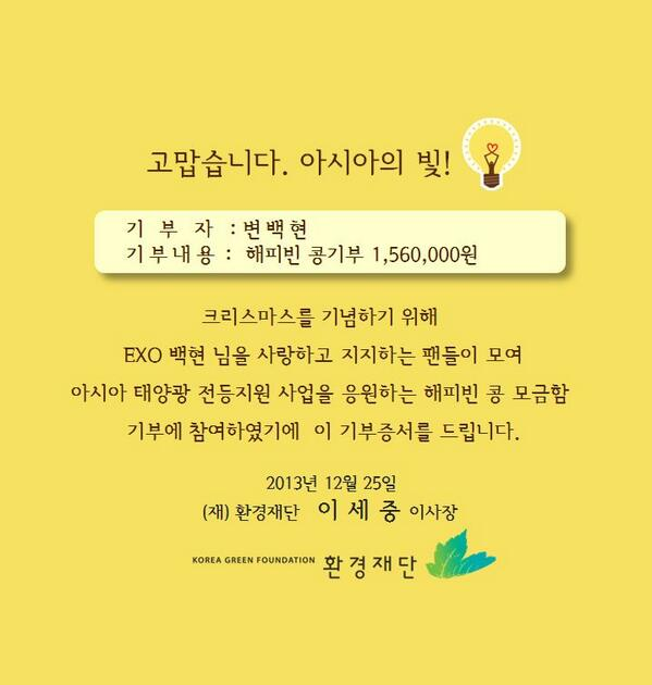 [1만개의 태양을 나누다!]  EXO의 맴버 백현 님과  팬클럽 '백현마을' 회원 분 들 께서 지난  크리스마스를 맞아 네이버 해피빈 콩기부를 통하여 156만원 기부해주셨습니다. 따스한 마음 잘 전해드리겠습니다 http://t.co/txGAf1F0JV