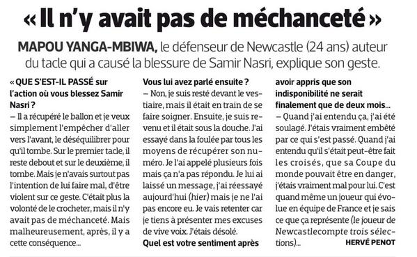 Bd7ByLHIcAAdlMn Man Citys Nasri isnt taking calls from Yanga Mbiwa so the defender apologises for that tackle in LEquipe
