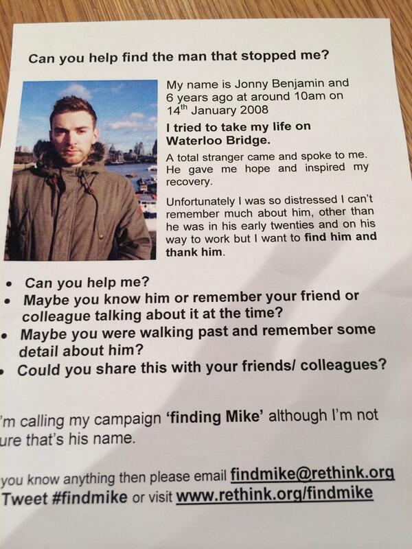 Chap wants to find man who saved his life. Can we help him #findmike ? (via @WhichPennySmith ) http://t.co/O052RP8WgL""