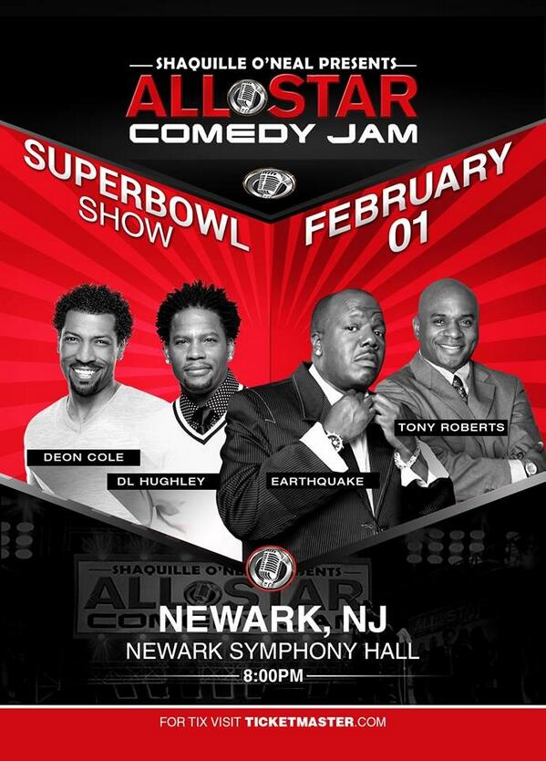 SHAQ (@SHAQ): The Superbowl is coming to my town. It's only fitting my bring my show – Newark STAND UP!   http://t.co/PnyOBwygvv http://t.co/skTltIGCfJ