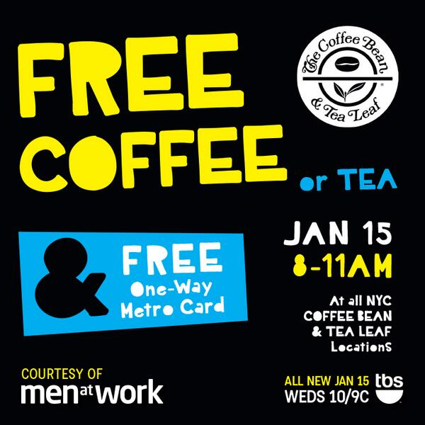 Don't forget to come by Tom from 8-11am for a FREE coffee and 1way metrocard thanks to @MenatWorkTBS! See ya tom! http://t.co/KXFZfEo6M6