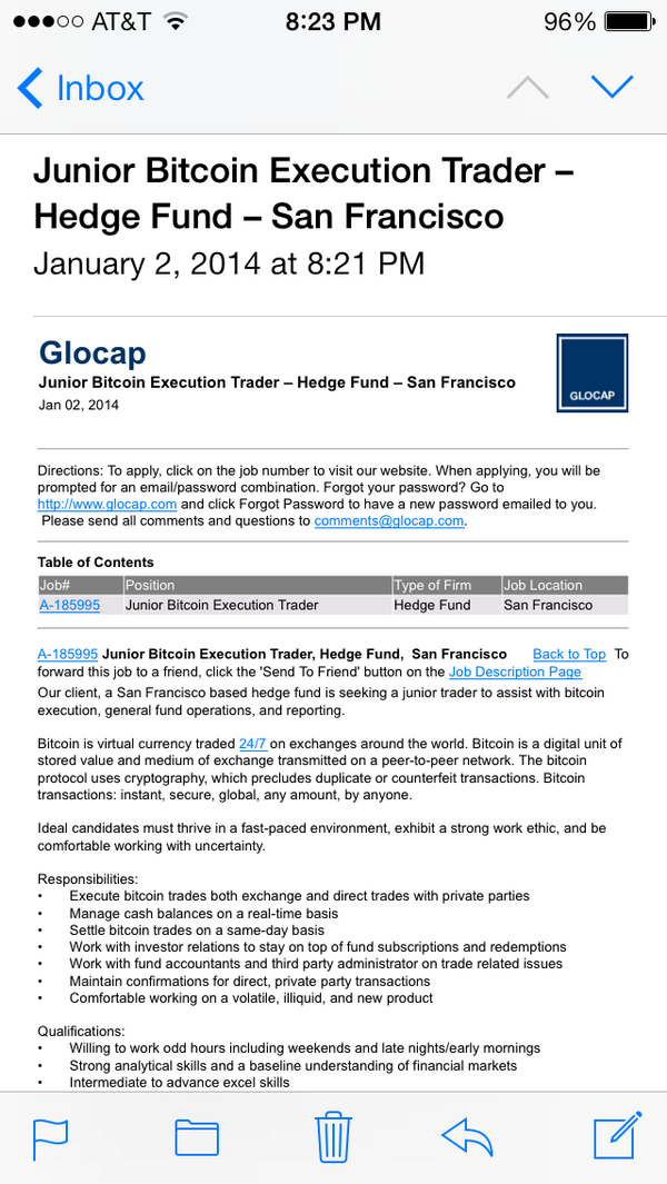 """A SF-based hedge fund is seeking a """"junior Bitcoin execution trader"""" - here we go... http://t.co/VQyNplrAtK"""