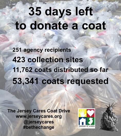 Jersey Cares (@JerseyCares): 35 days left to donate to the @jerseycares coat drive! please RT. http://t.co/IhnoaCm2tS #bethechange #jerseystrong http://t.co/SMHBeuKXiO