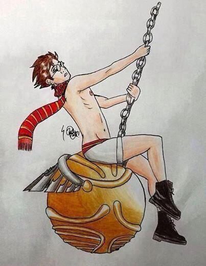 'Wrecking Snitch.' I wish the basilisk had petrified me first. #HarryPotter #WreckingBall http://t.co/ZXYsKNMu7b