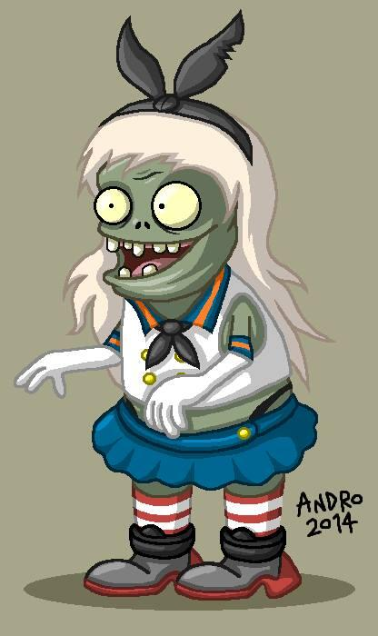 Plants vs. Zombies (@PlantsvsZombies): Fundead Legionnaire, Andro J., created this Imp crossover w/ Shimakaze-chan from Kantai Collection using MS Paint. http://t.co/lvvfFkkGw8