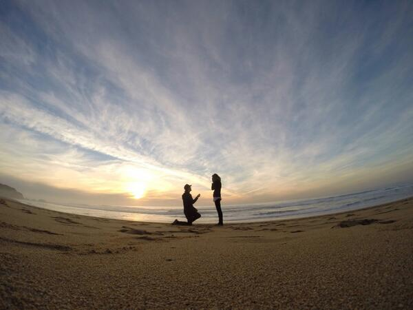 GoPro production artist @ZakShelhamer  pops the question to his love Whitney Davis, and of course a GoPro was there. http://t.co/AneD5Oh9Ca