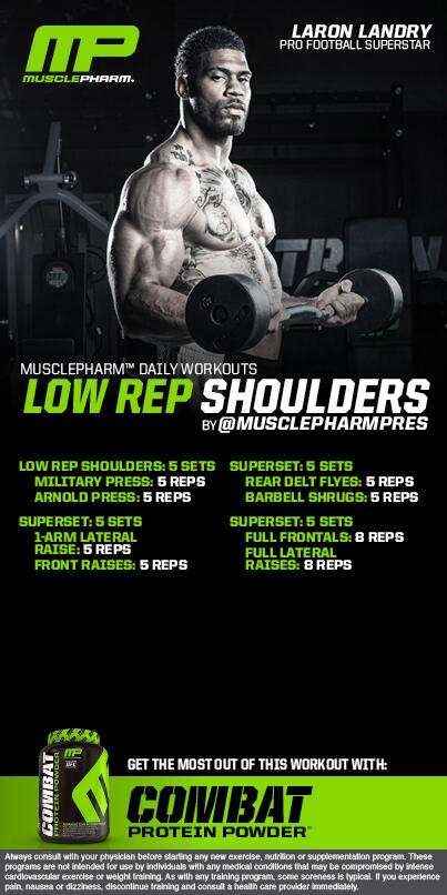 *******Workout of the Day********  LOW REP Shoulders @MrLandry30   Powered by COMBAT http://t.co/mjZZjSrt7U