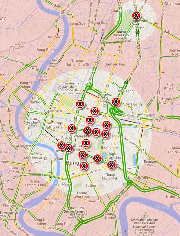"""【注意】バンコク行かれる方へ1/13前後から要注意です。旅行は、なるべくバンコクを避けたほうが無難かも。""""@annglemag: バンコク反政府デモ「バンコク閉鎖計画」の閉鎖交差点20箇所マップ #反政府デモ #マップ #バンコク  http://t.co/pAoxFvKxKf"""""""