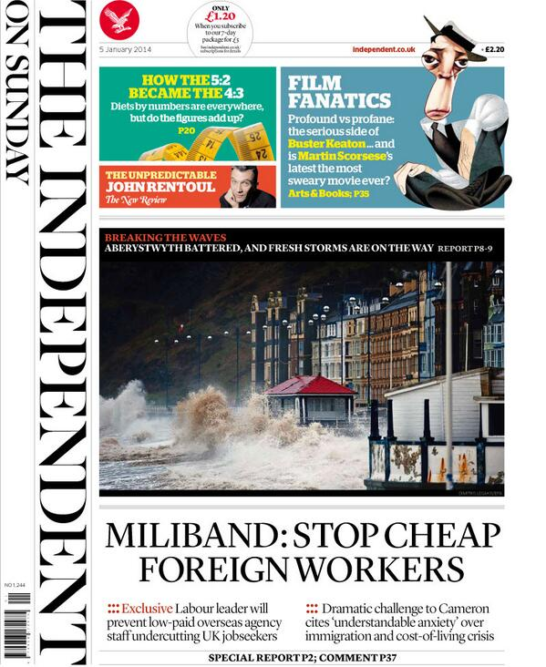 Tomorrow's front page: EXCLUSIVE: MILIBAND - STOP CHEAP FOREIGN WORKERS http://t.co/piQtWcUI1l