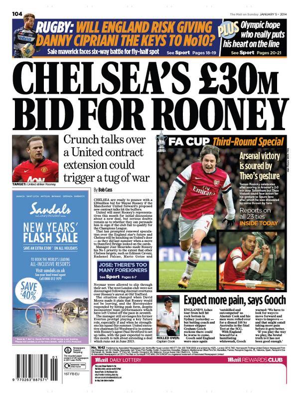 BdKuK 0CYAEuTq1 Chelsea prepare a £30m bid for Manchester Uniteds Wayne Rooney [Mail on Sunday]