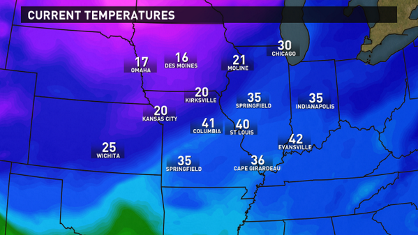 Bree Smith (@BreeSmithWx): Bi-state temps show cold front... 20 in Kirksville... 40 in STL... by this time tomorrow single digits! #stlwx #KSDK http://t.co/V5xFXdv5G2