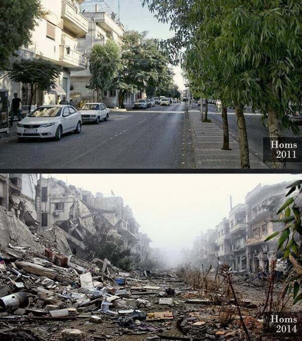 Devastating MT @_amroali: The ongoing #Syria'n tragedy. The same street in Homs in 2011 & in 2014 http://t.co/E2dgZMpR2R h/t @bbclysedoucet