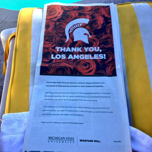 SO proud to open up today's @latimes to find this classy one-page @michiganstateu ad thanking L.A.! http://t.co/oSGD5FVvxJ