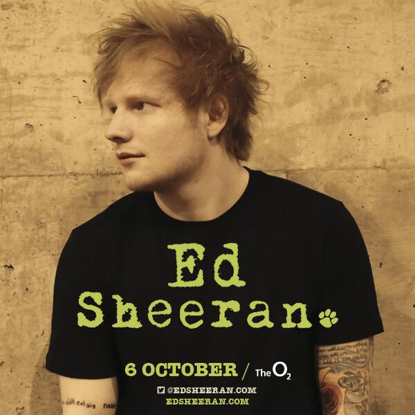 @edsheeran has just announced he is playing The O2 on 6th October! Tickets on sale Friday 10th January at 9am http://t.co/MAAp2uHacG