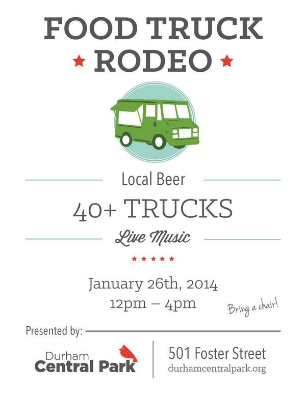 Can't wait for some food truck grubbing at the next #FoodTruckRodeo @DCPDurham Jan 26, 12-4. http://t.co/aTHjZecF2p http://t.co/czeWTAIddU