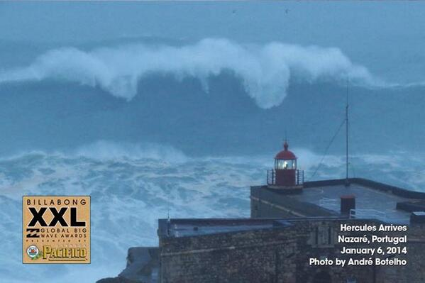 Winter storm Hercules slams Europe. That's Nazare waaaay bigger than any swell before it... http://t.co/w8axsGvNRA http://t.co/yNRjTc5voZ
