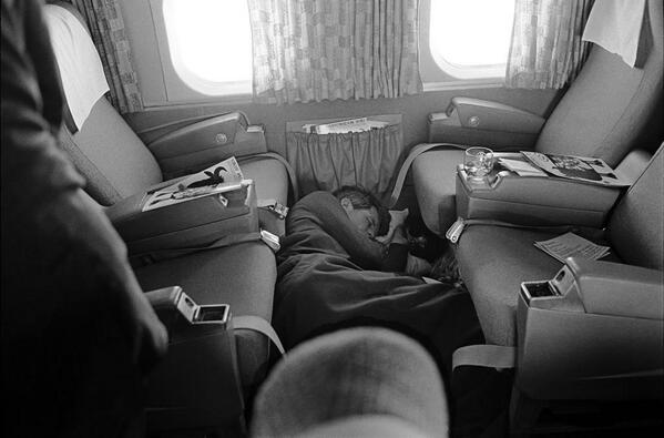 Robert F. Kennedy sleeps on the floor of a plane during his 1968 presidential campaign. http://t.co/EI0DJ5bLqO