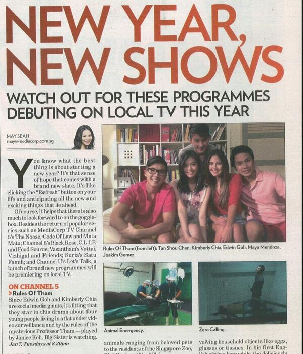 Remember to watch #RulesofTham tonight! Thanks to @TODAYonline ♡ @kimberly_chia http://t.co/urW7dtuRWj