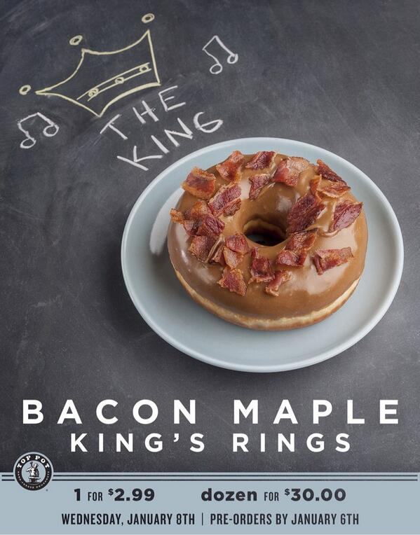 Tomorrow only and only once  a year- Bacon Maple Rings!  Thank you @PinkysKitchen for the amazing bacon! http://t.co/xqzIlBiN2Y