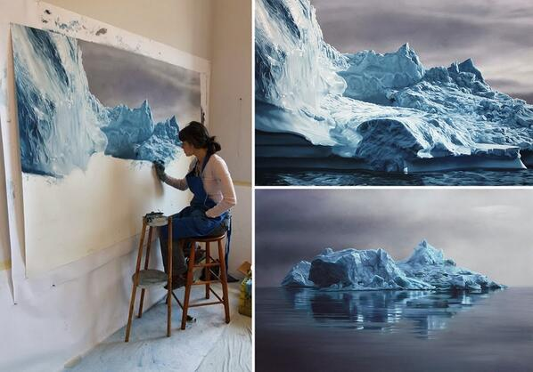 Zaria Forman creates breathtaking pastel drawings of Greenland's icebergs to raise awareness on climate change. http://t.co/xckEeWhOrv