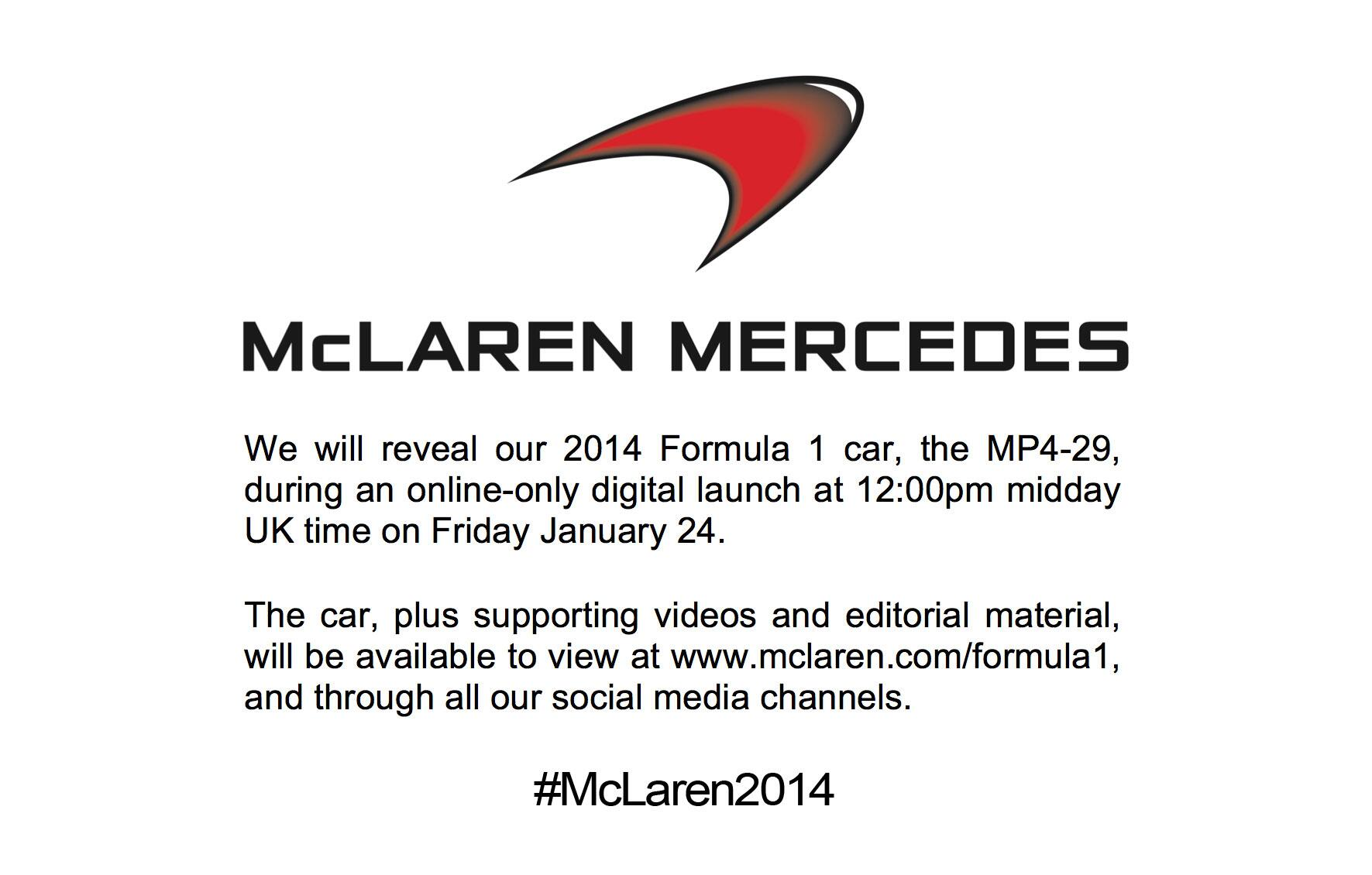A date for the diary. #McLaren2014 http://t.co/mkx0d6Fh2m