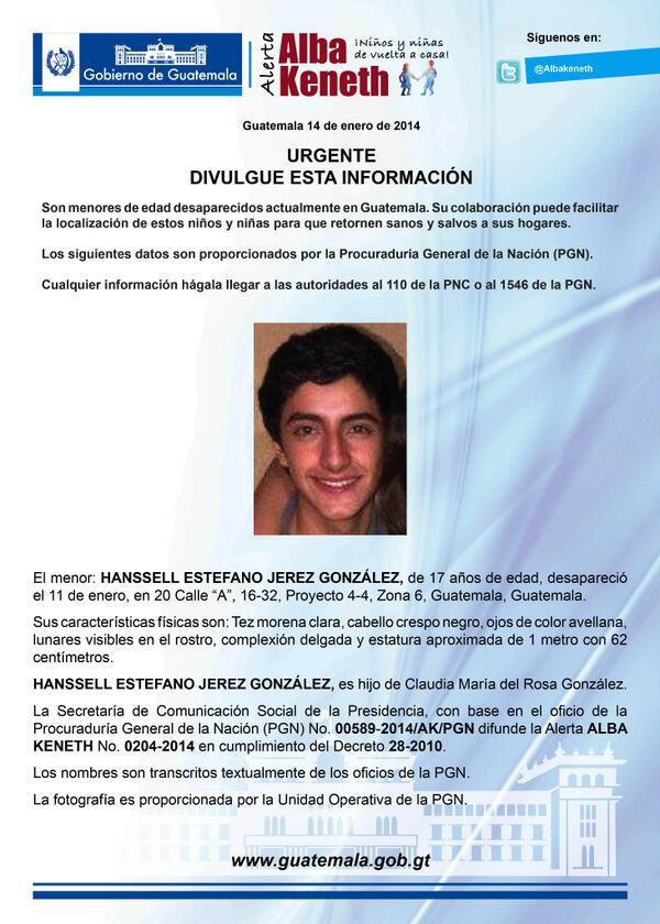 Alerta Activada: Hanssell Estefano Jerez González http://t.co/GNLijs8mLO