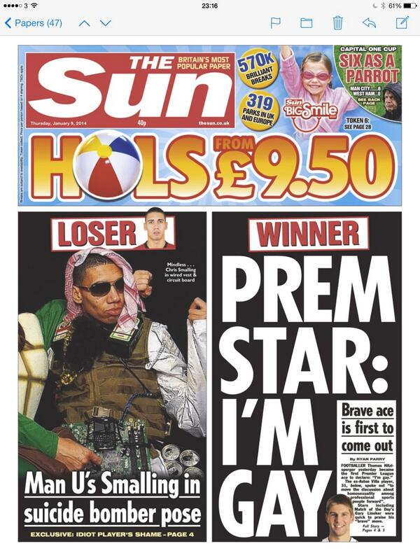 BdfmA10IMAAbB69 Dressed as a suicide bomber, Man Uniteds Chris Smalling makes the front page of The Sun