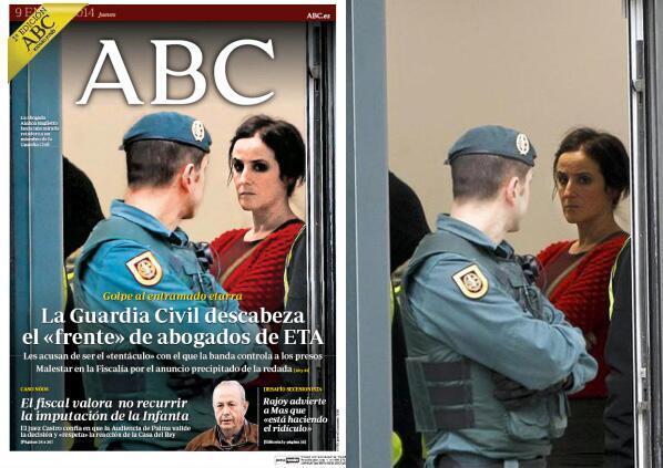 Ainhoa Baglietto abokatua ABCko portadan. Ez zen nahi bezain zatar agertzen, eta fotoxopatu egin behar http://t.co/pUxhES2KCO