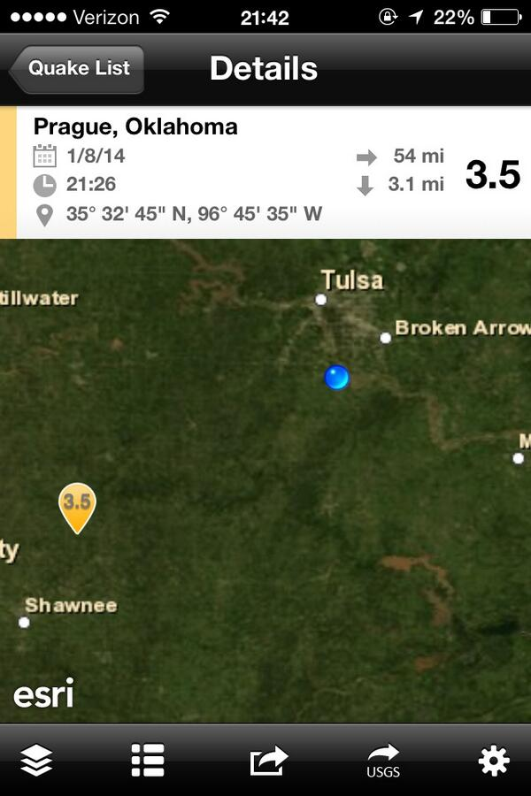 BREAKING: A 3.5 (prelim. mag.) earthquake just shook Prague, OK. Reports of it being felt in Tulsa. Did you feel it? http://t.co/AQqUKfhhyy