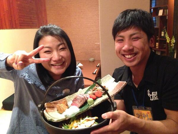 草津でご飯たべてるよ〜 駅前の近江屋さんのイチボのお肉がめちゃ美味しいよ〜!来ちゃう〜! http://t.co/hm7q5UycN1