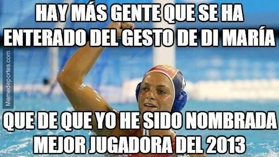 Se habla más del gesto de Di María que de elección de @JenniferPareja como mejor jugadora de waterpolo del mundo. http://t.co/8VwLttbsrZ