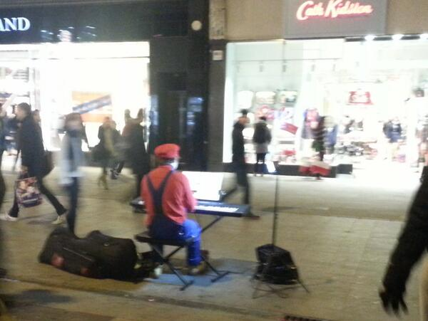 I feel you should all know there is a man on Grafton Street playing the music of Super Mario, dressed as Mario http://t.co/pgLxcGQgFp