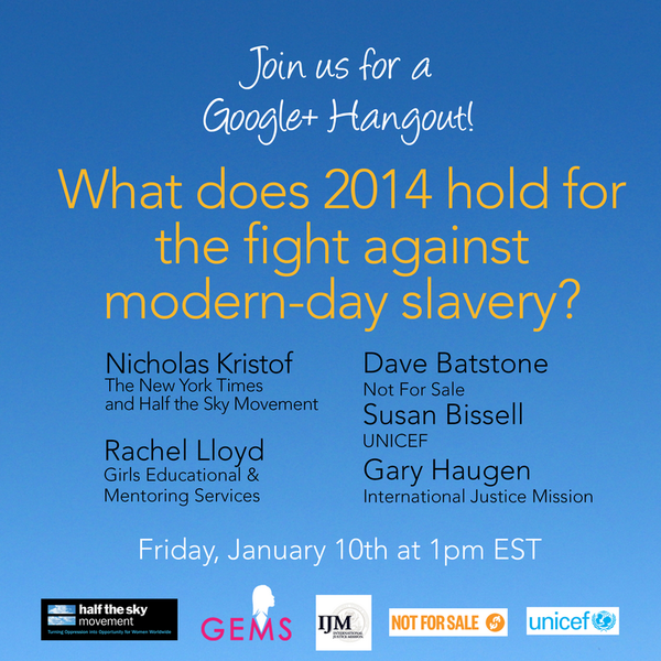 For #HumanTrafficking Awareness Month, join Rachel Lloyd, @NickKristof and others. 1/10 @ 1PM: http://t.co/LiyFFTK8ew http://t.co/q2Szi3xII7