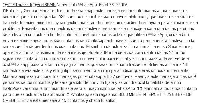 REPETICIÓN nº 73179006 del BULO WhatsApp. NO difundas - @VOSTeuskadi @vostSPAIN - @kikesti #Hoax http://t.co/B0af48Gx5f