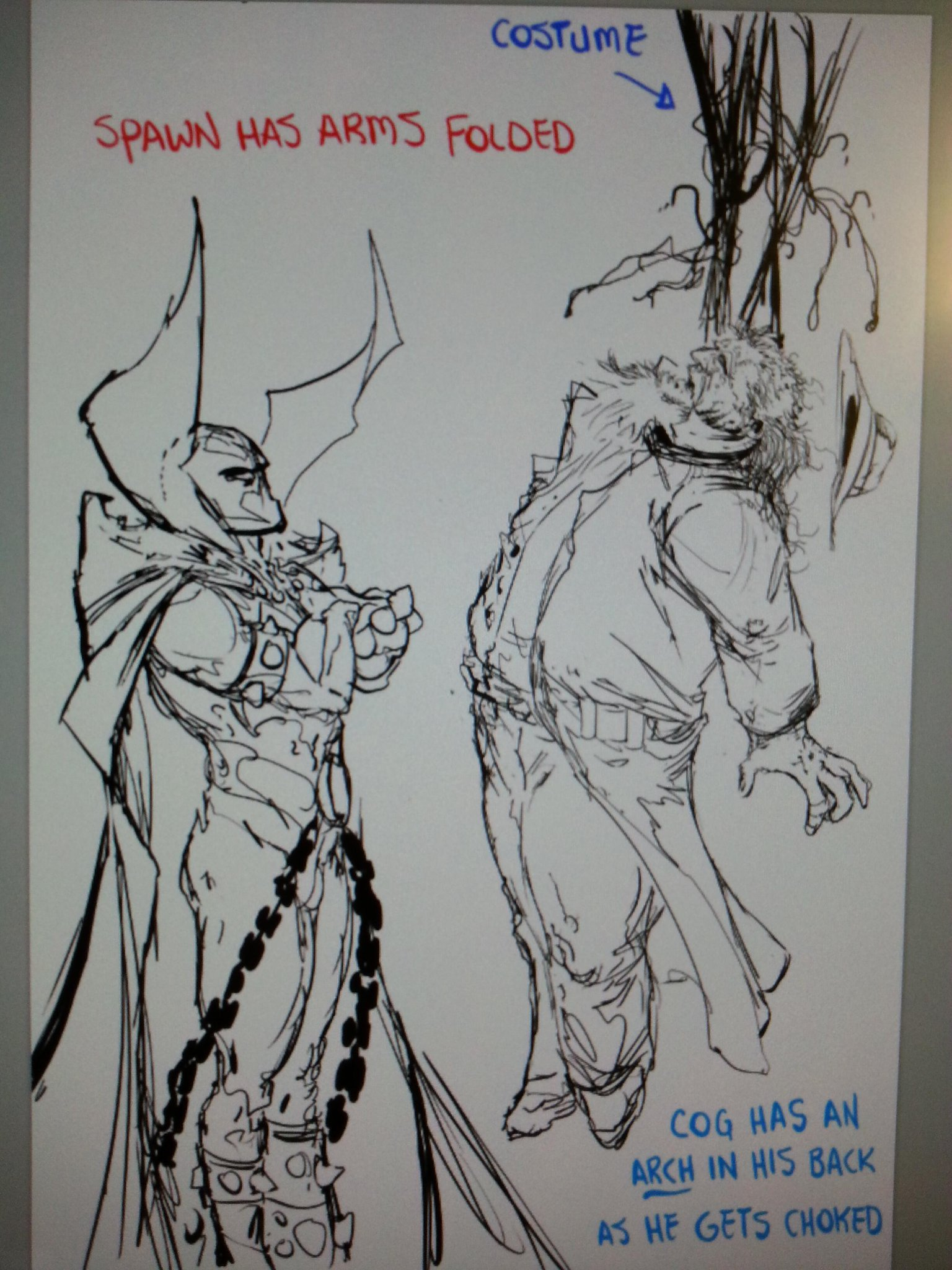 COMICS: Here is a rough sketch for an upcoming cover (Spawn #240). Will show the tight pencils and inks later.  TODD http://t.co/ZILReysgvK